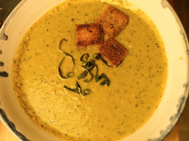 Artichoke Soup with Thyme Croutons