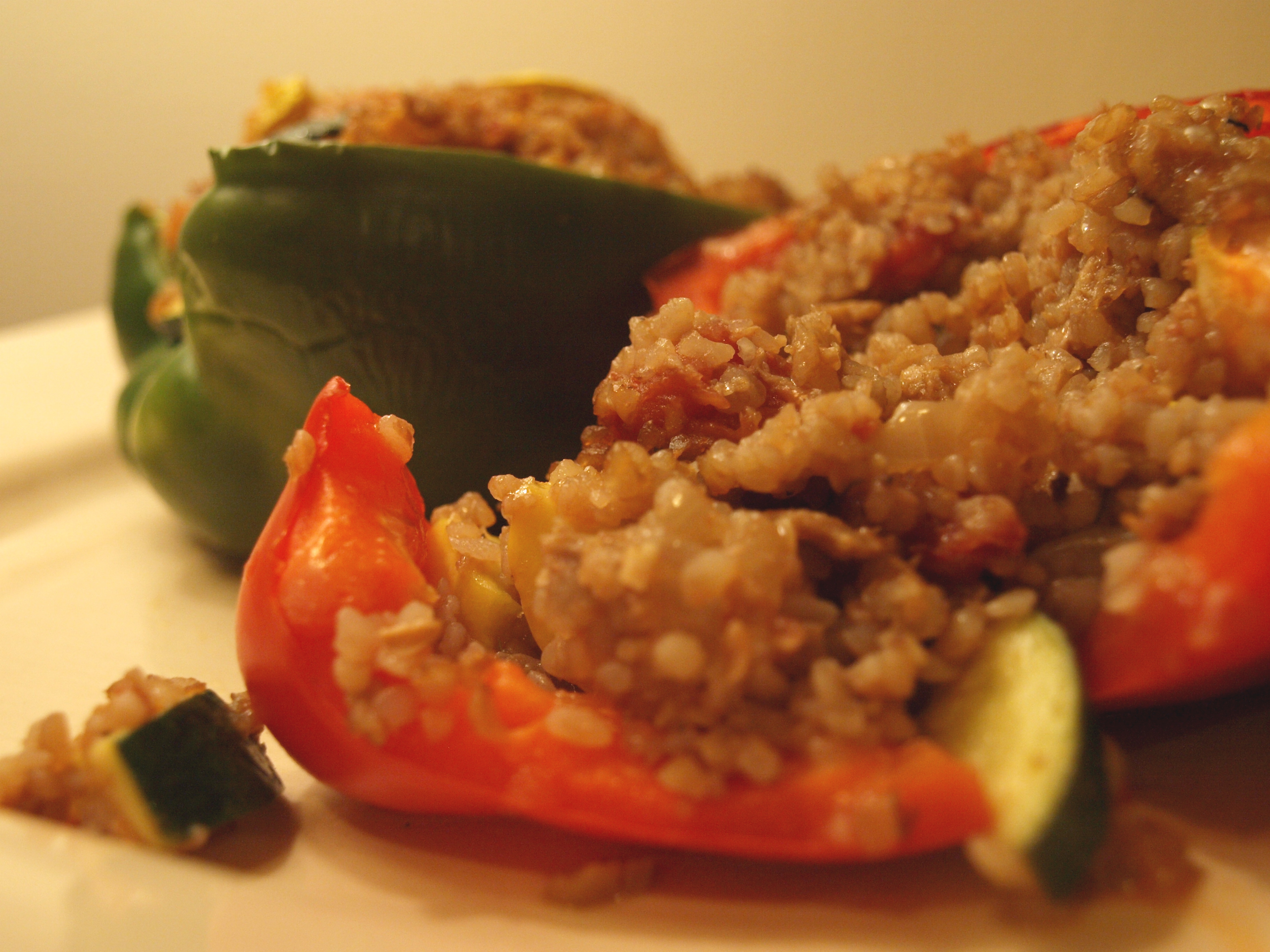 Stuffed Green and Red Peppers
