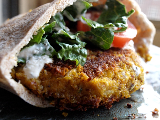 Falafel Burger with Tzatziki Sauce