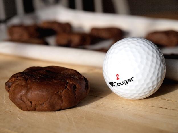 Golf Ball sized dough, flattened