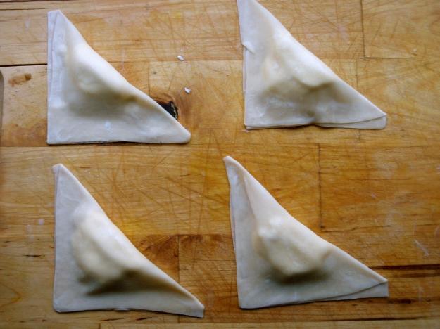 Triangle shaped wontons