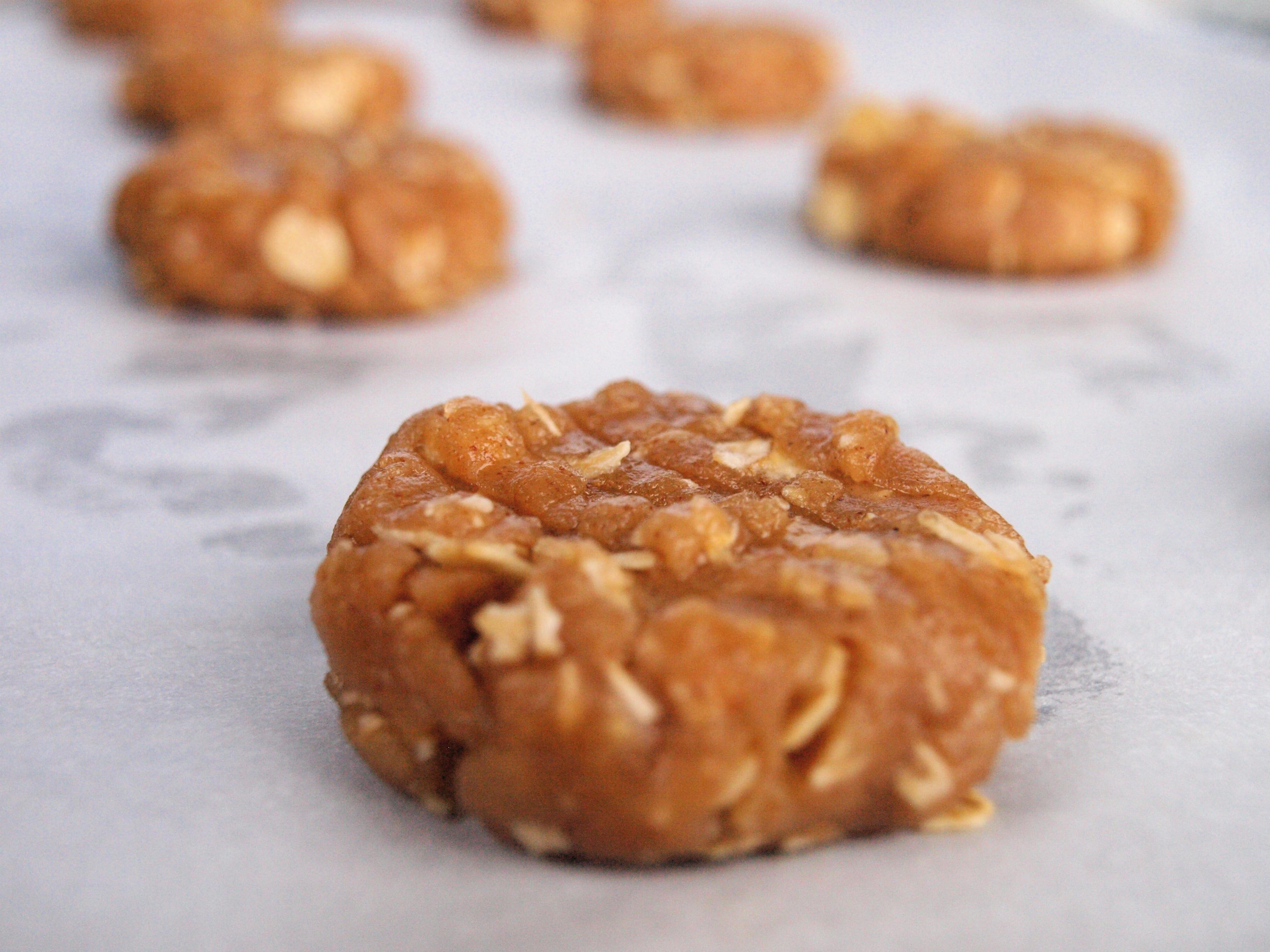 Almond butter cookie ball flattened