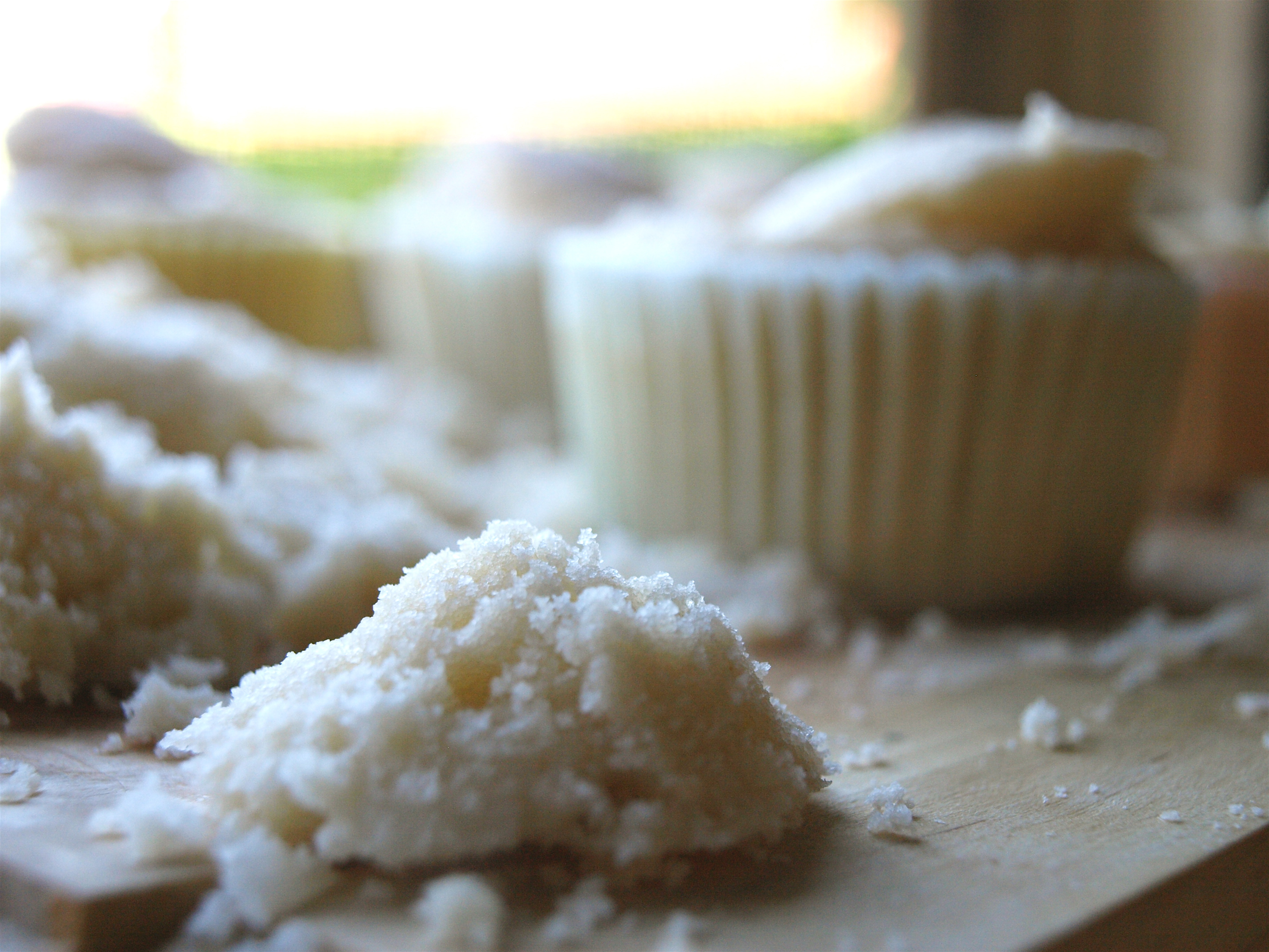 Coconut cupcakes filling hole