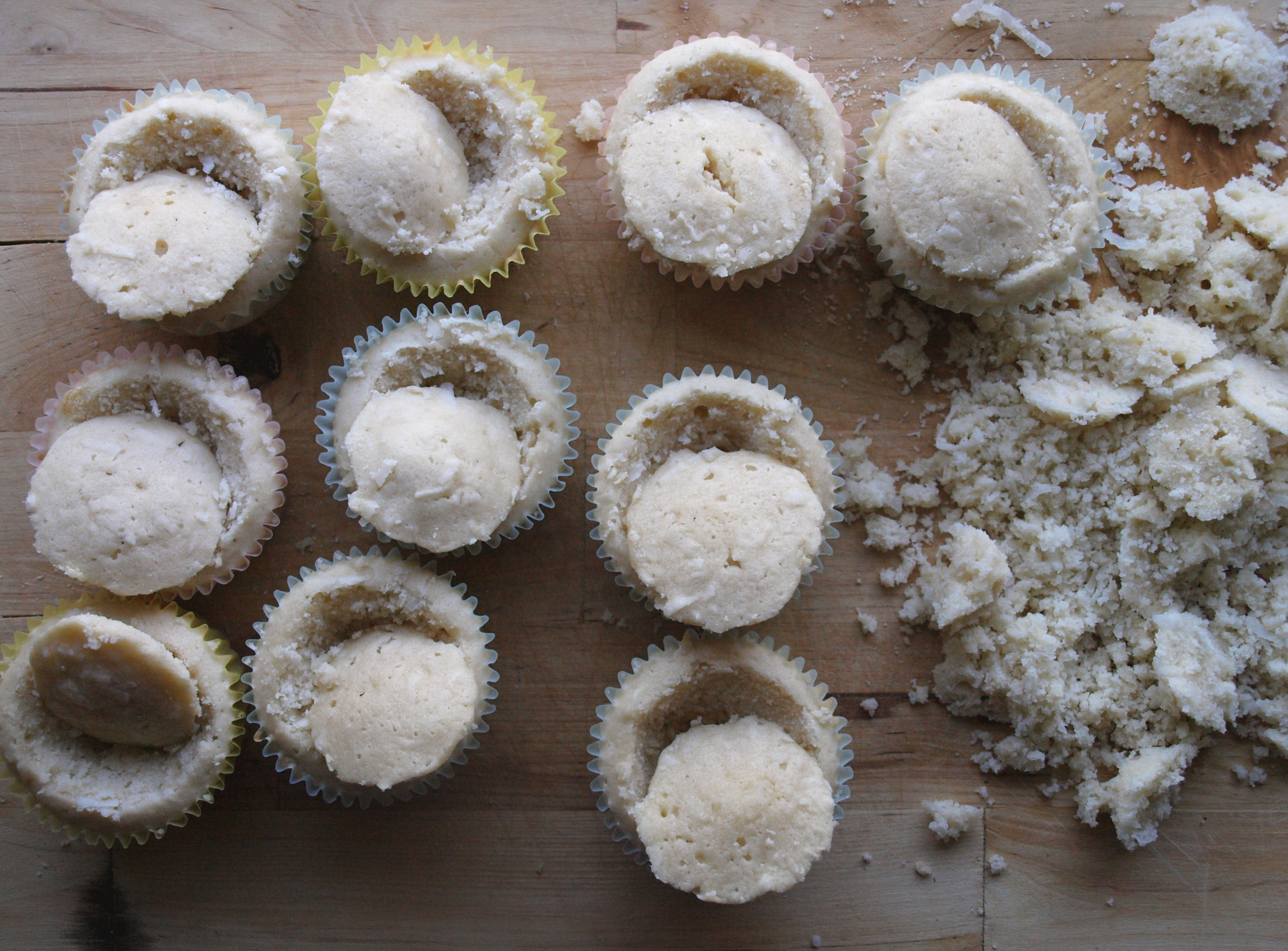 Coconut cupcakes filling hole 2