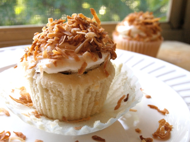 Chocolate-filled Coconut Cupcake