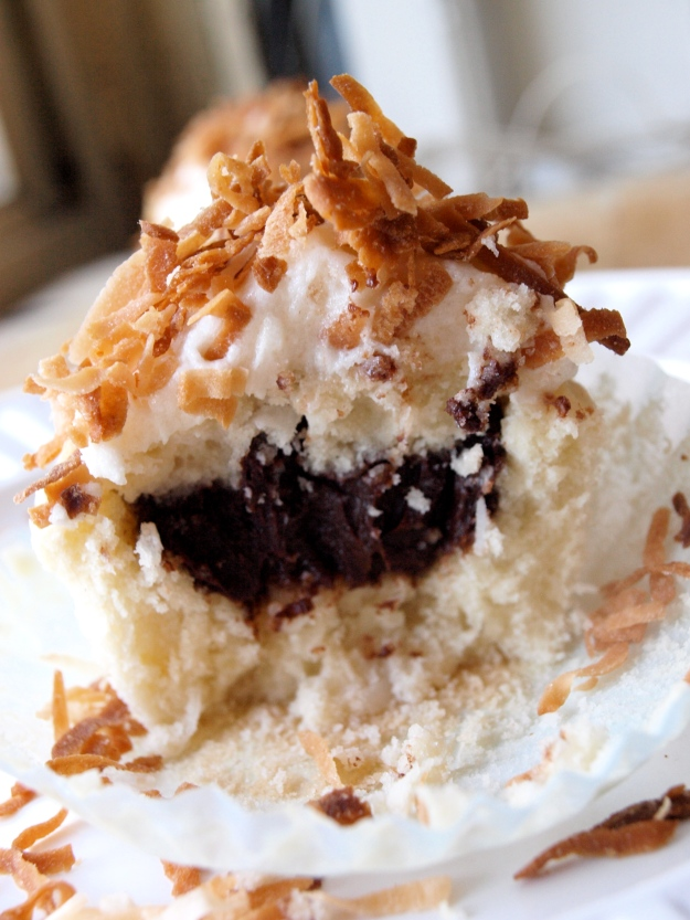 Coconut Cupcake with Chocolate Fudge Filling 2