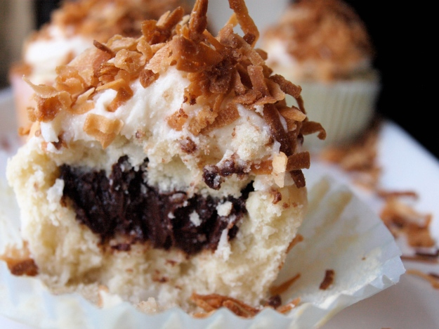 Coconut Cupcake with Chocolate Fudge Filling
