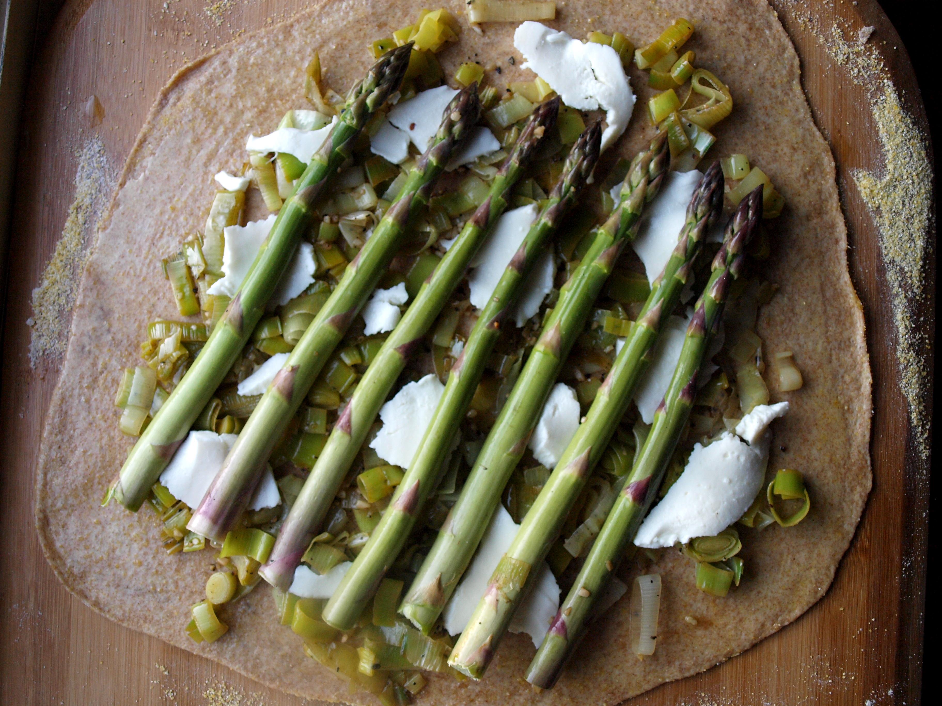 Crispy Asparagus Flatbread, prepared