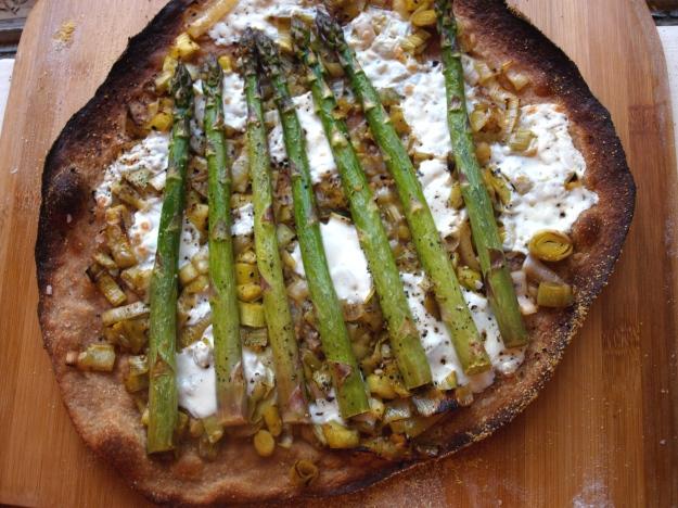 Asparagus flatbread pizza, pre-slice