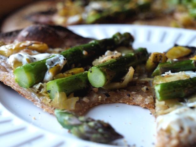 Crispy Asparagus Flatbread, sliced asparagus