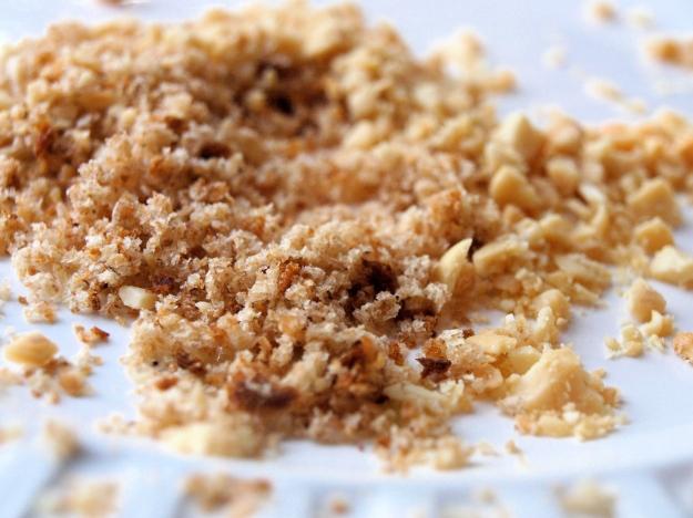 Breadcrumbs and peanut mixture