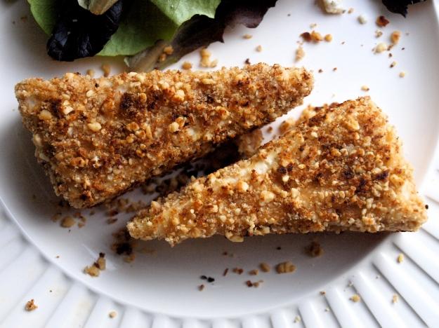 Peanut crusted tofu triangles