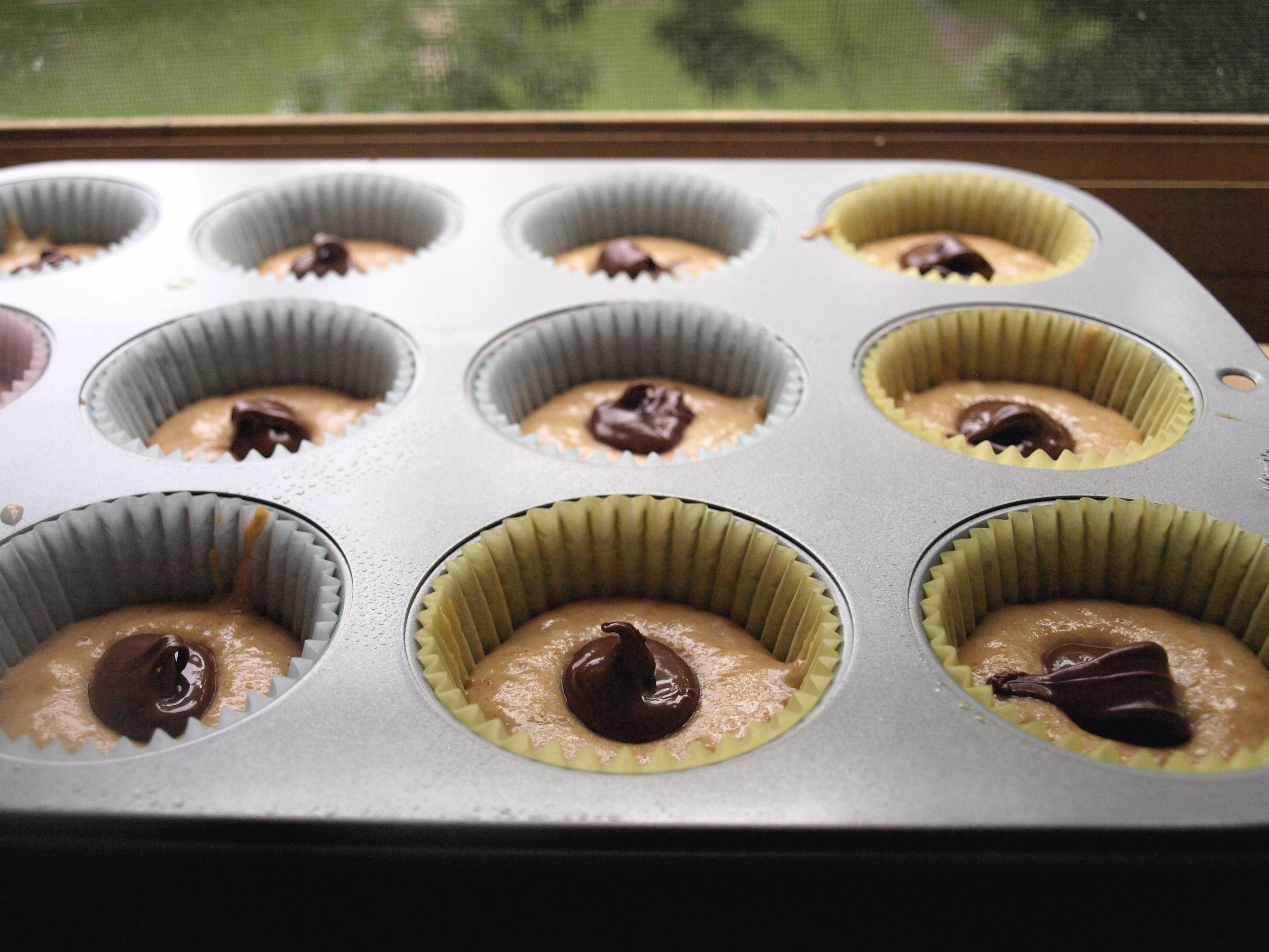 Whole wheat banana muffin batter with nutella