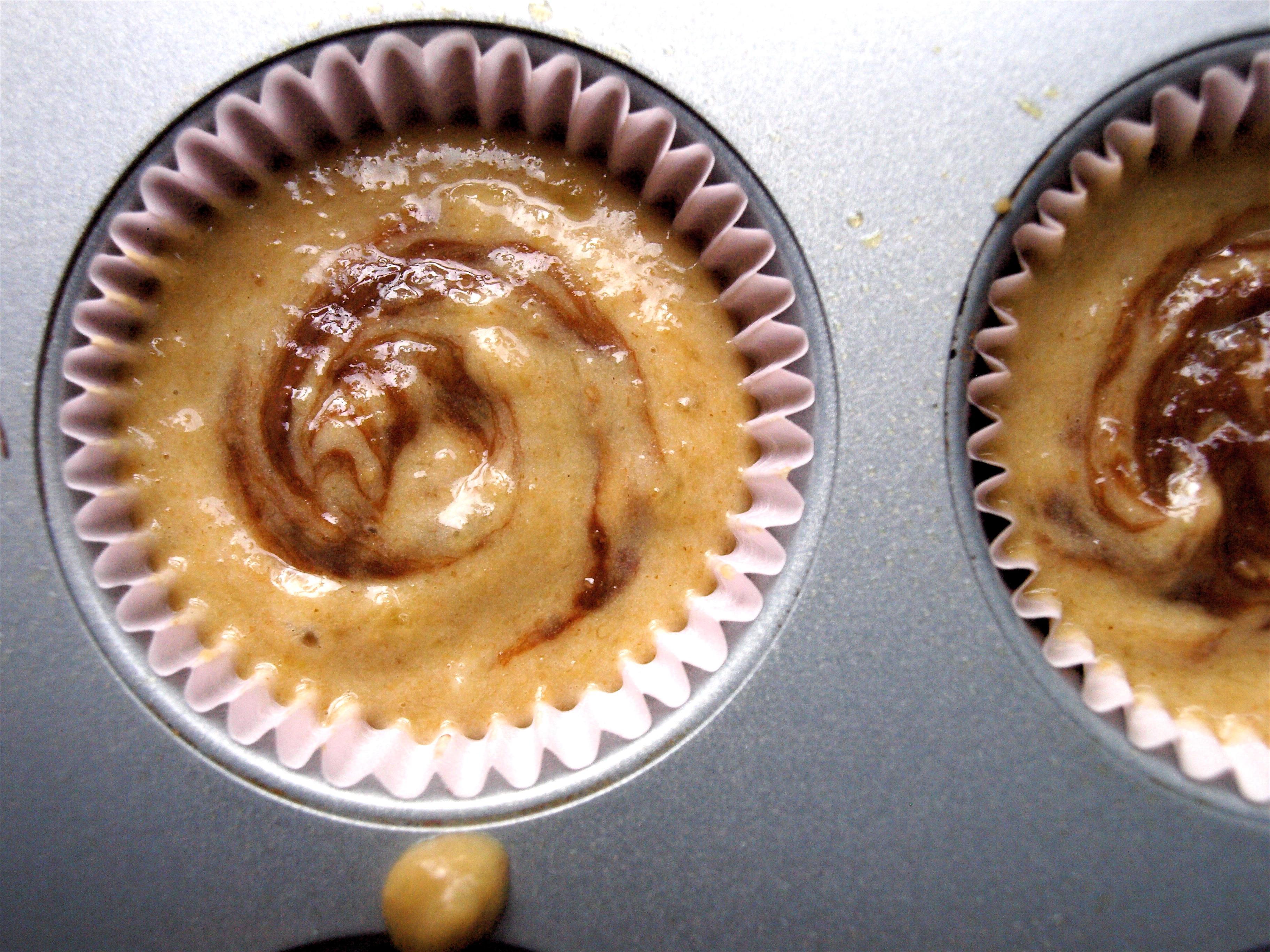 Banana nutella muffins pre-baking