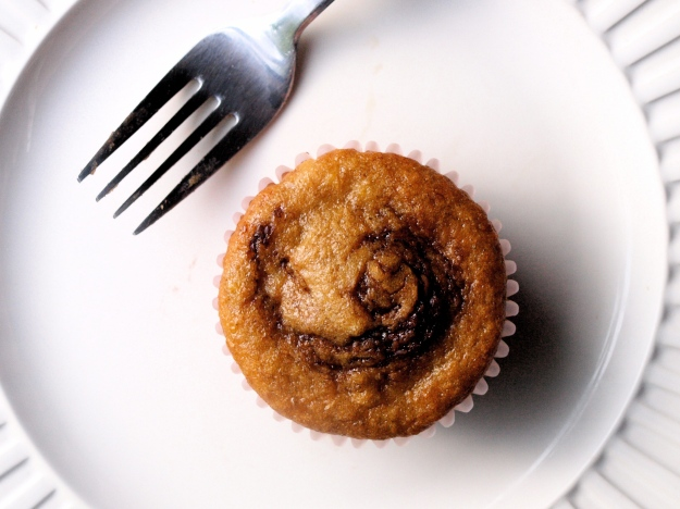 Whole wheat banana muffins with nutella swirl