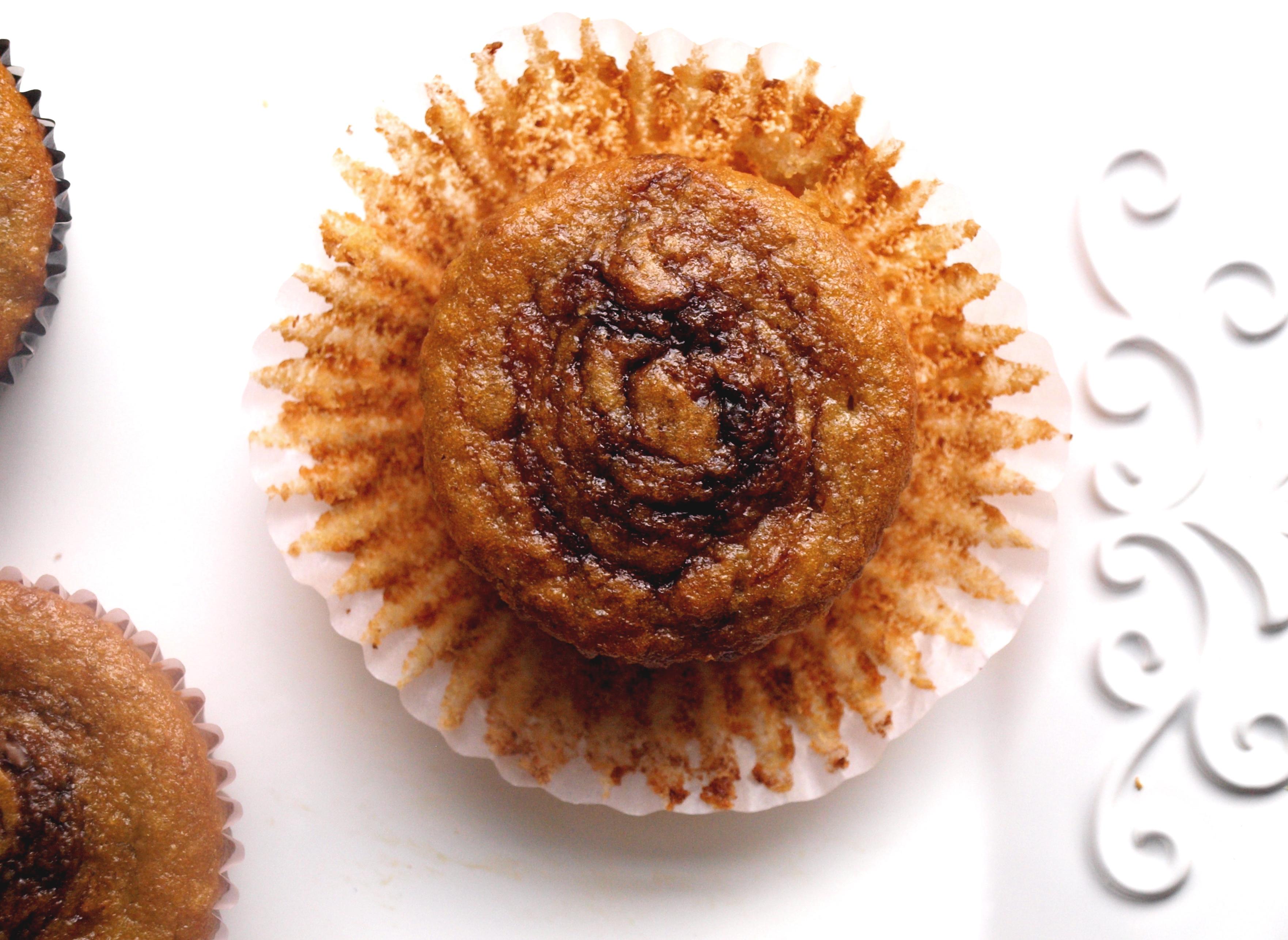 Banana nutella whole wheat muffin