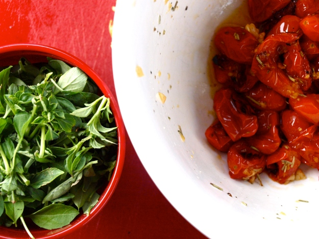 Roasted tomatoes and basil