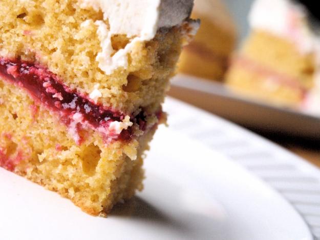 Raspberry cornbread layer cake standing