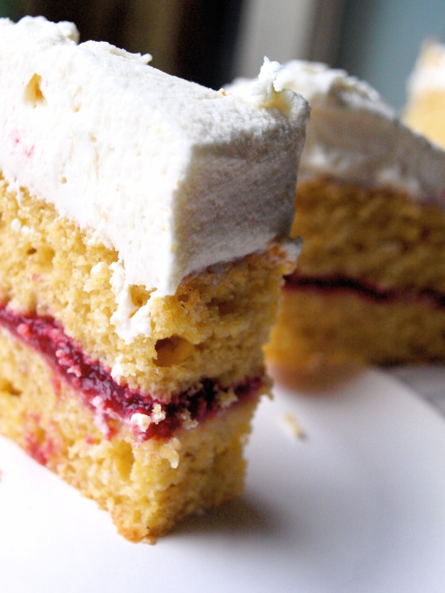 Cornbread raspberry cake standing