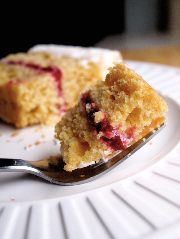 Raspberry cornbread layer cake