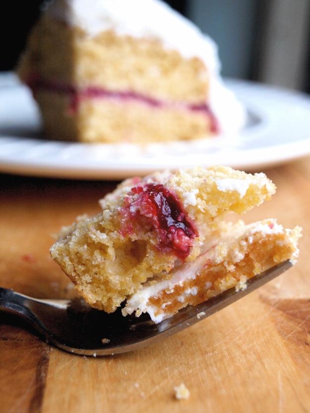 Raspberry cornbread cake bite