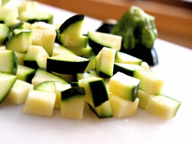 Zucchini cut up for rice and bean salad