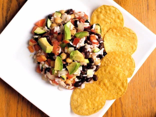 Rice and bean mexican salad gluten free vegan up