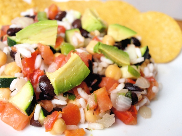 Rice and bean mexican salad gluten free vegan