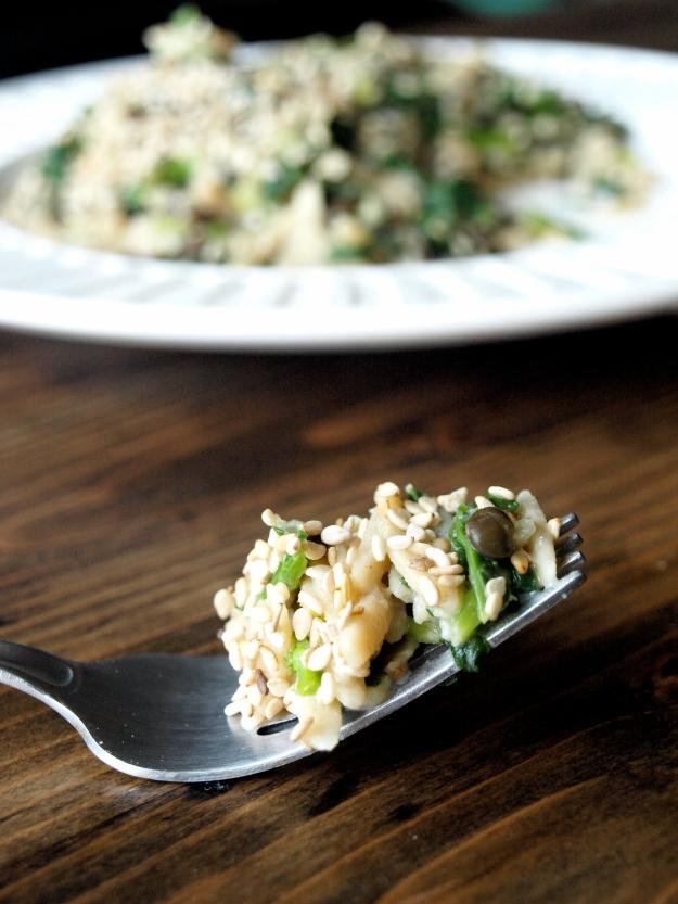 miso sesame broccoli rabe orzo bite 3
