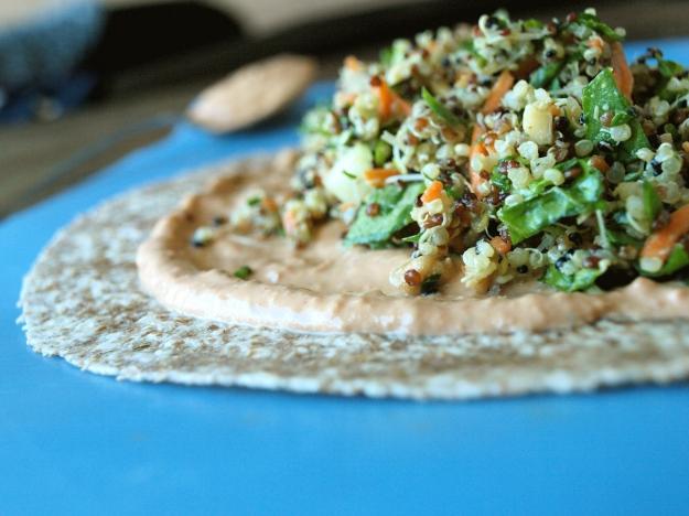 vegan quinoa wrap sundried tomato aioli