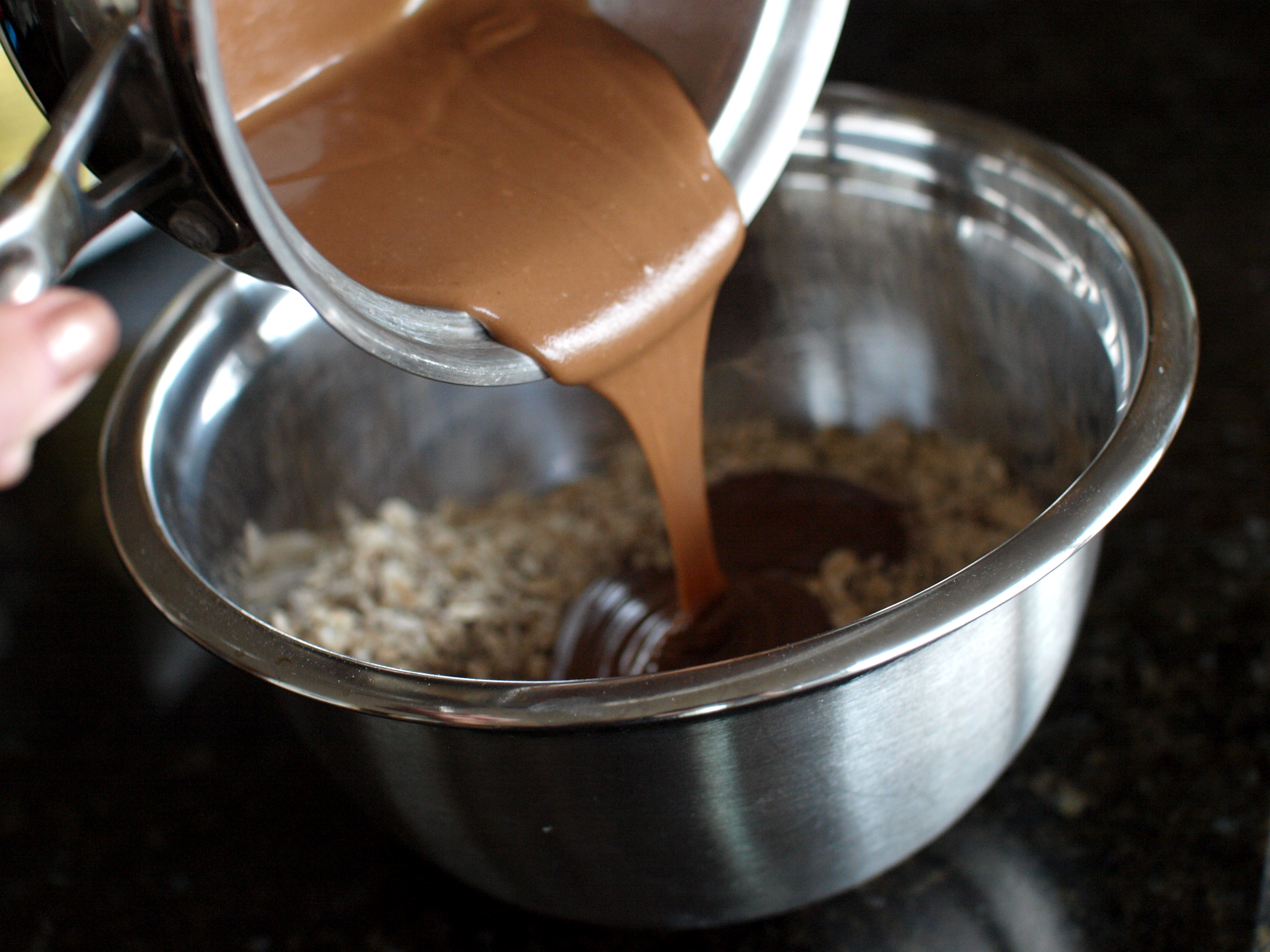 peanut butter nutella sauce mixture for granola