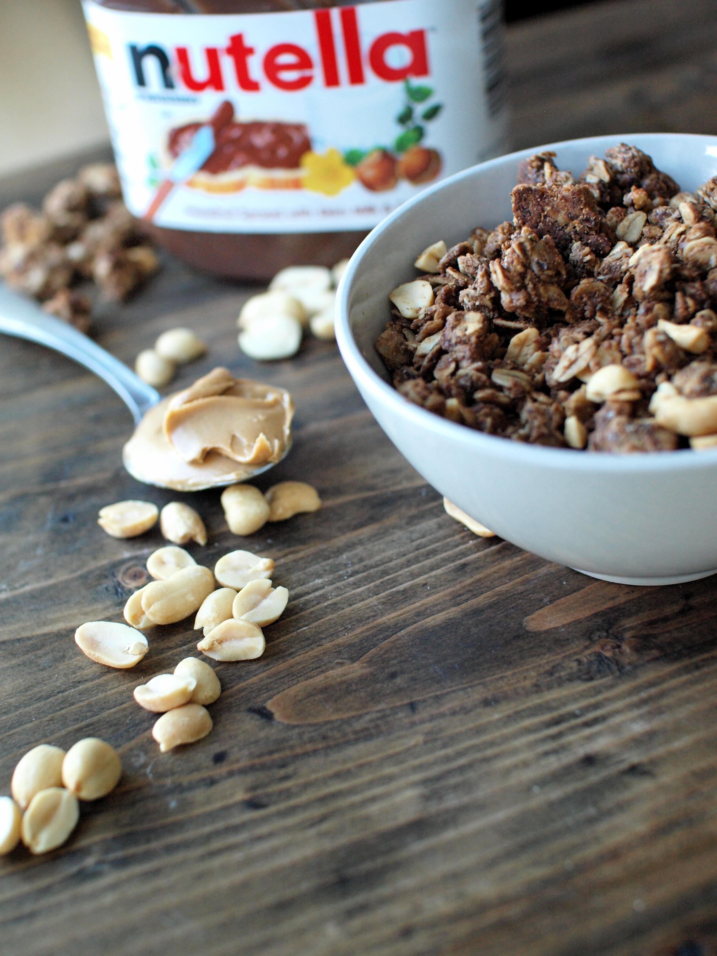 peanut butter nutella granola peanuts