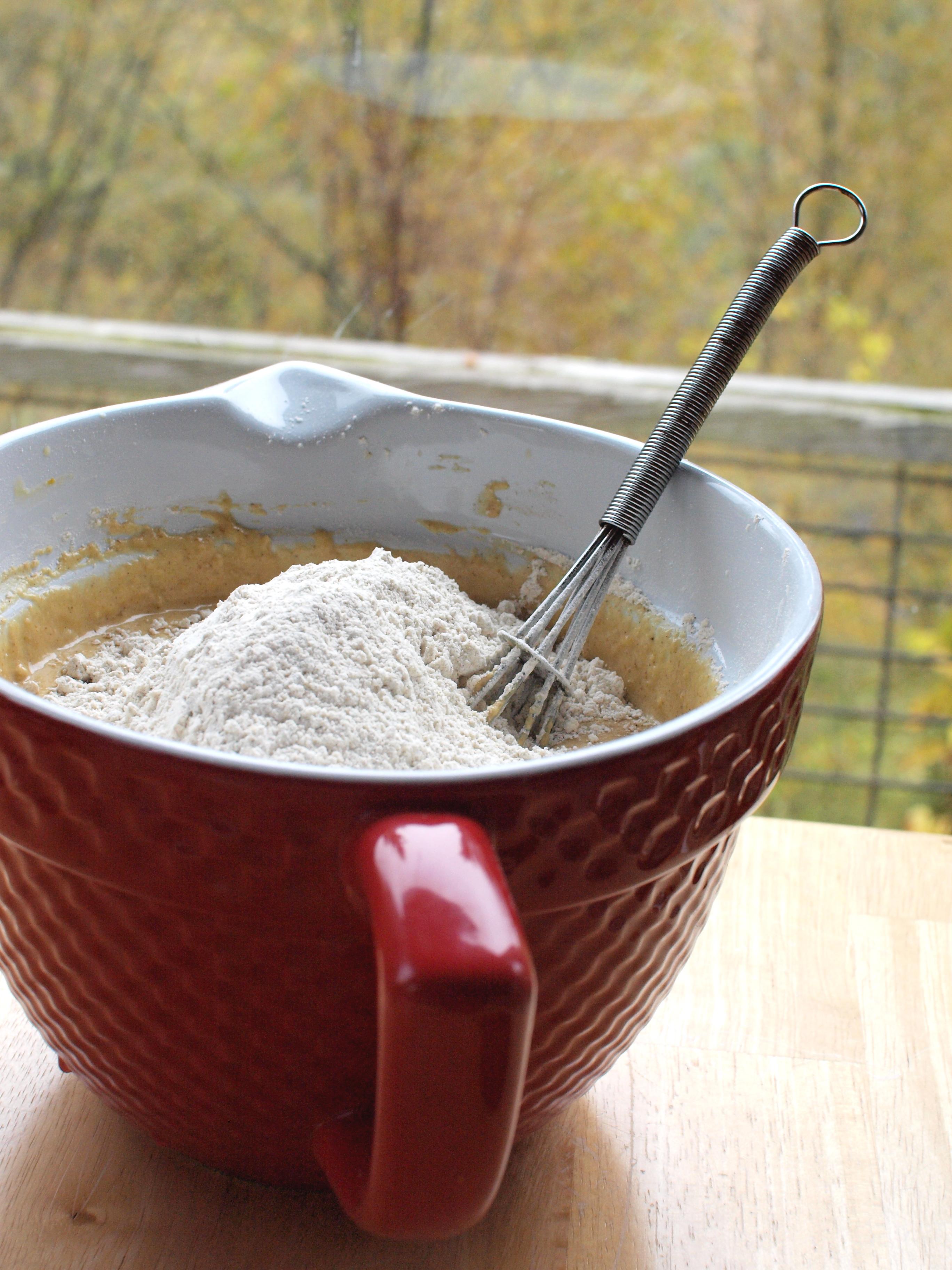 pumpkin waffle batter mixing