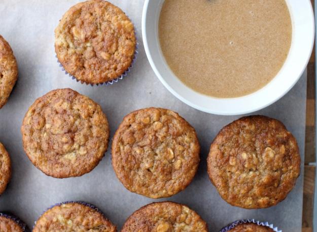 apple banana cider muffins brown butter glaze