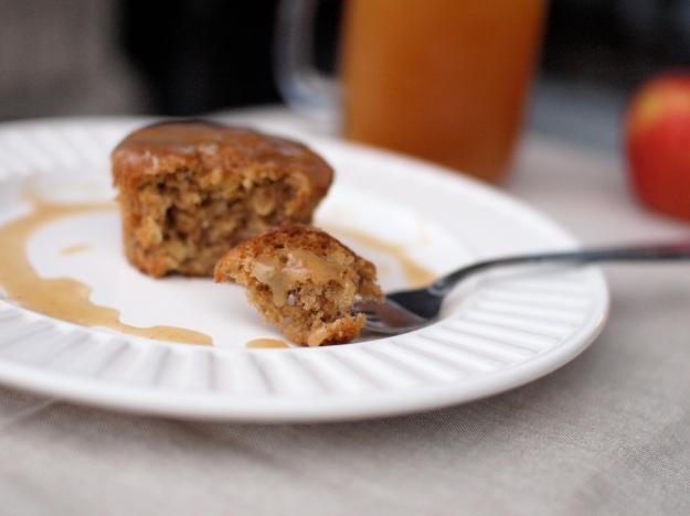 apple banana cider muffins fork