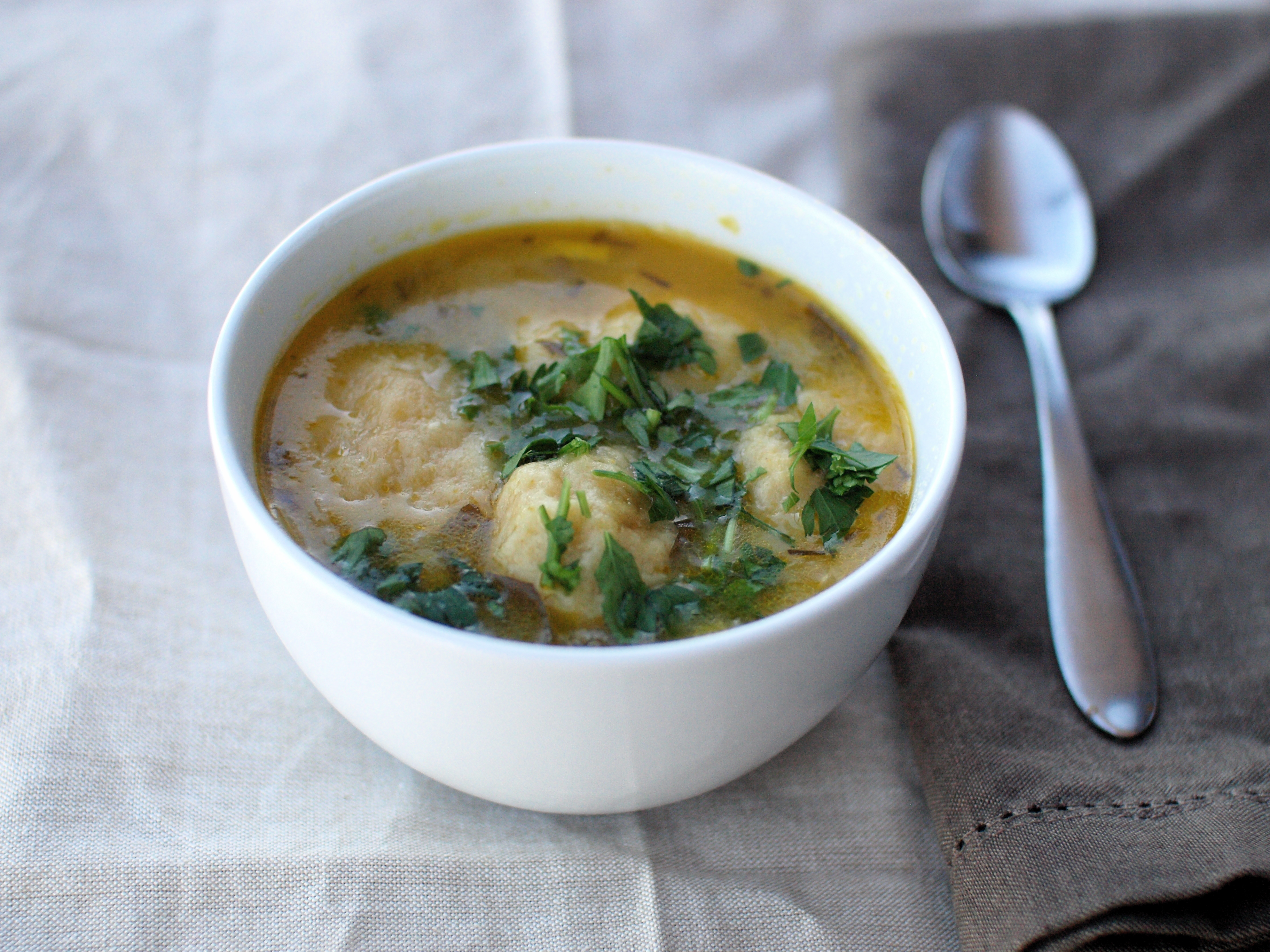 vegetable soup with cheese dumplings