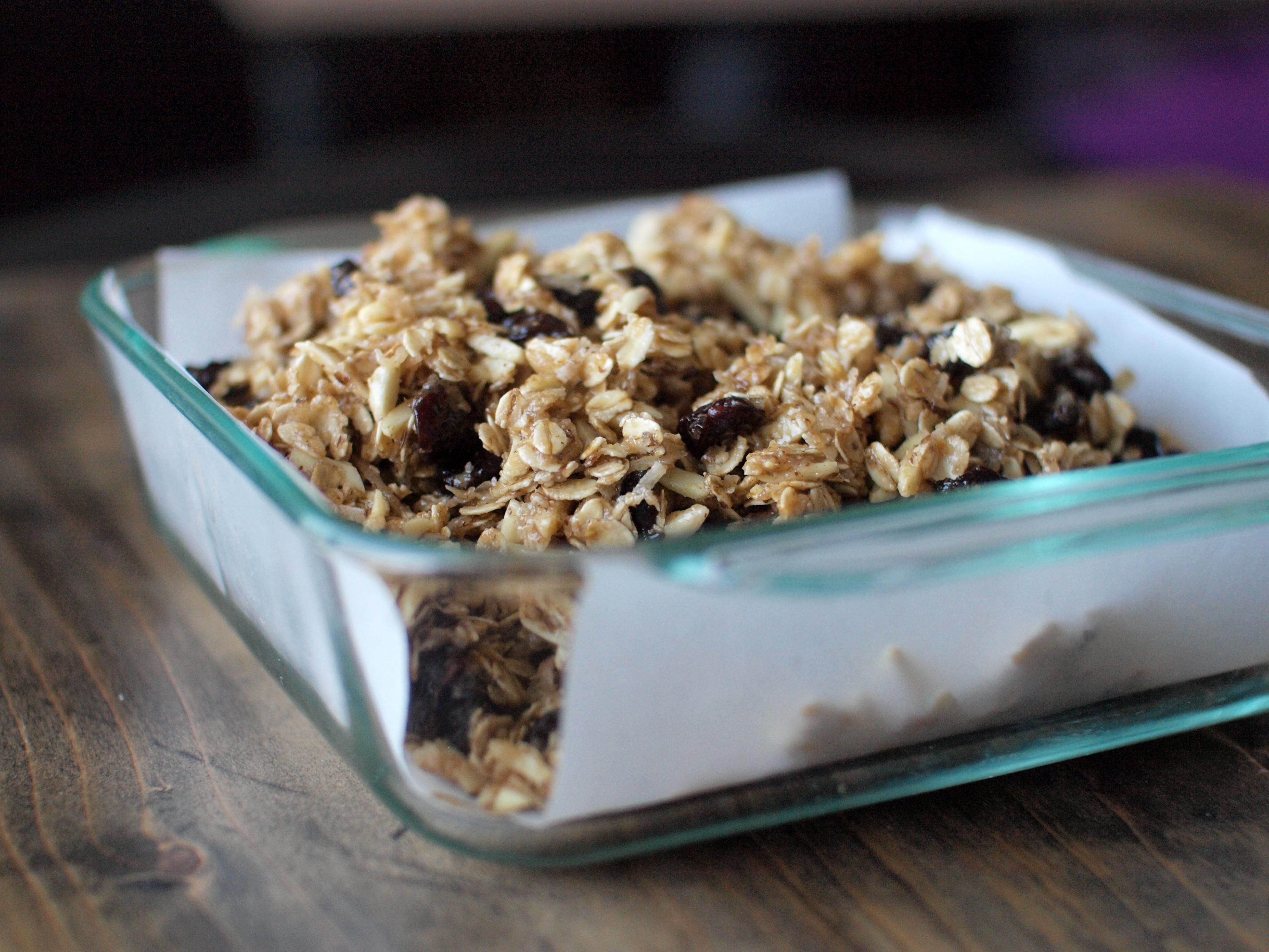 cherry coconut granola bar before baking