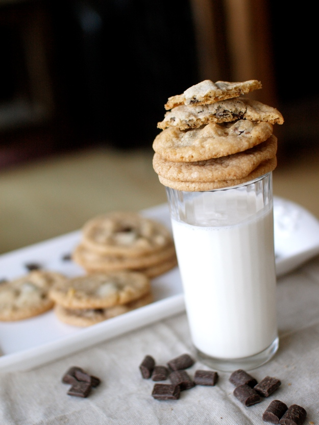 double chocolate macadamia nut cookies milk