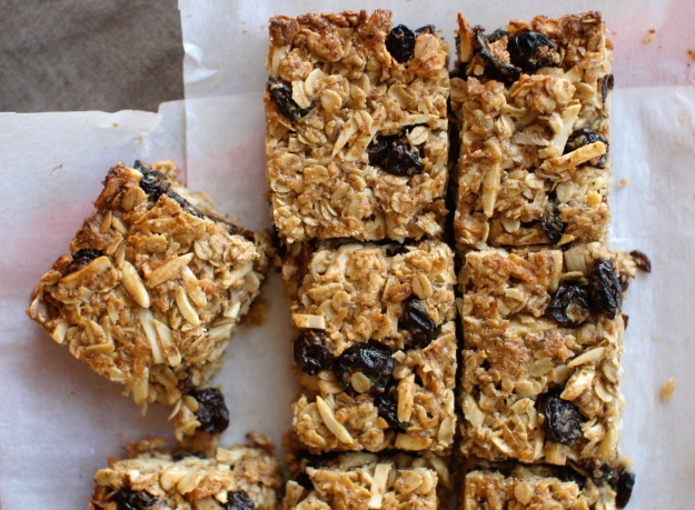 cherry coconut granola bar cut