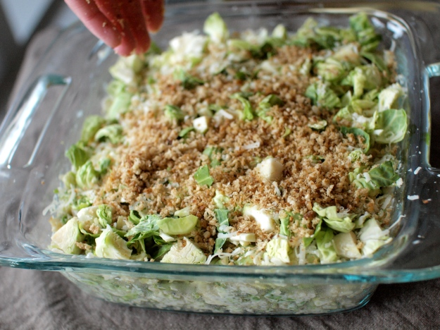 brussels sprout quinoa gratin breadcrumb sprinkling