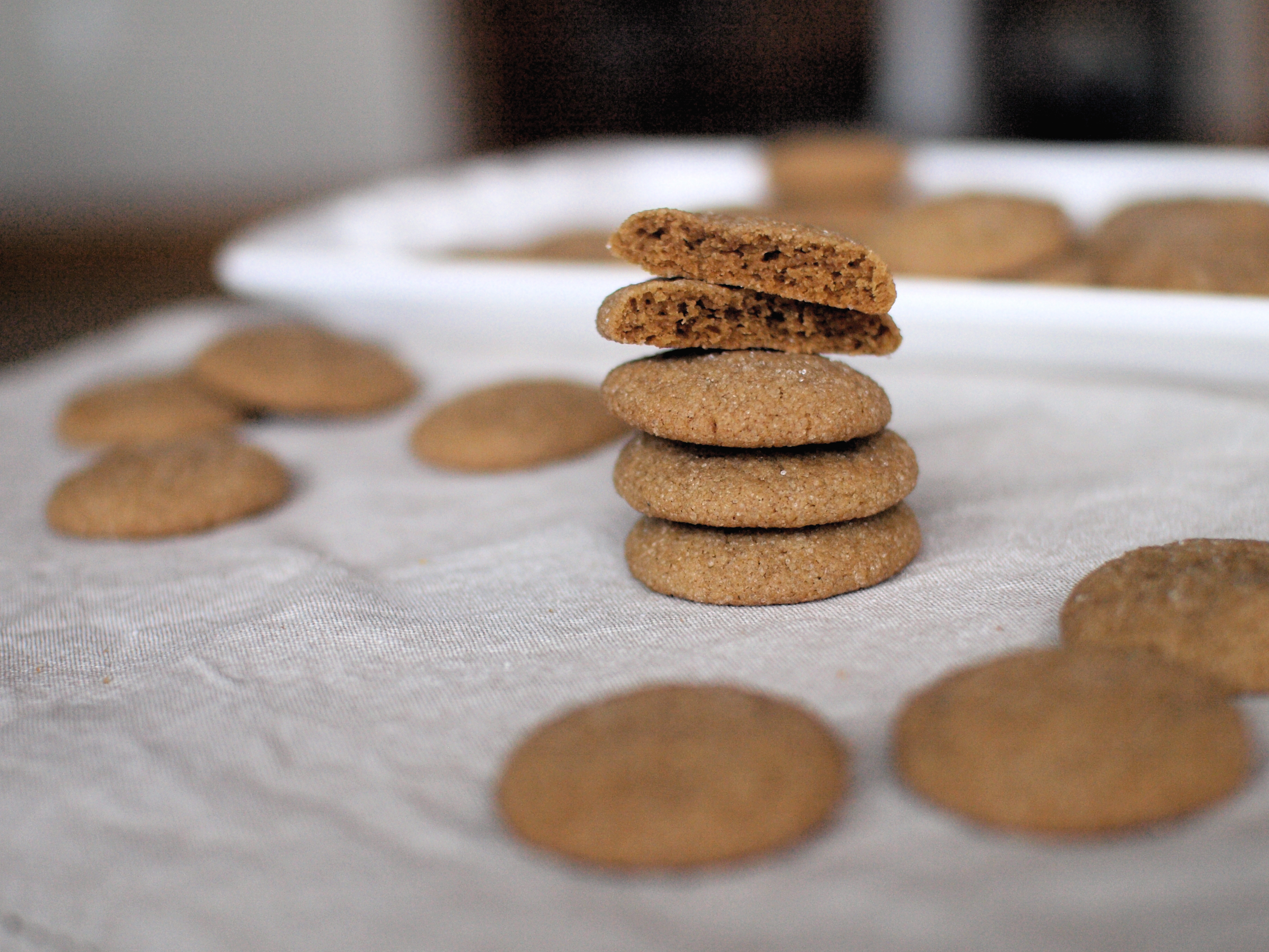 ginger cookies stack halved