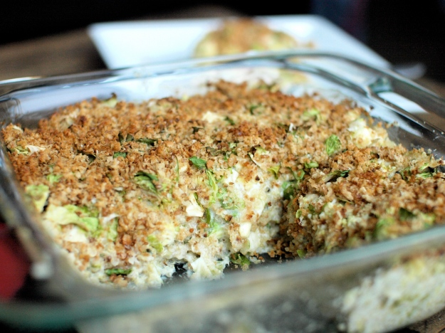 brussels sprout quinoa gratin pan